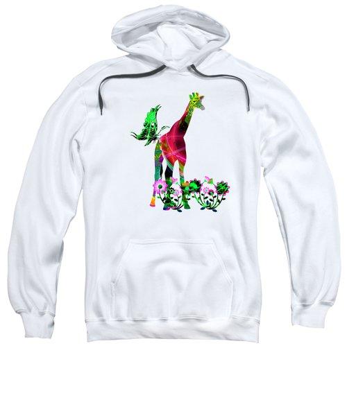 Giraffe And Flowers3 Sweatshirt
