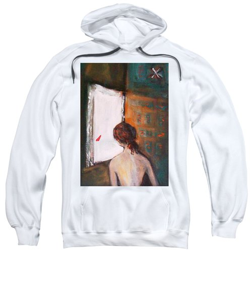 Sweatshirt featuring the painting Girl At The Window by Winsome Gunning