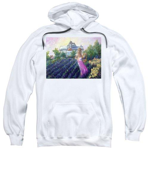 Girl In A Lavender Field  Sweatshirt