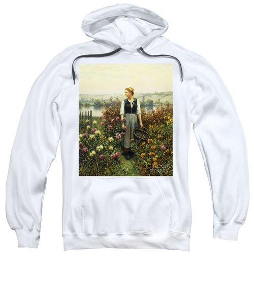 Girl With A Basket In A Garden Sweatshirt