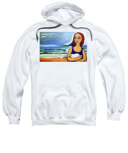 Sweatshirt featuring the painting Girl With Bird by Winsome Gunning