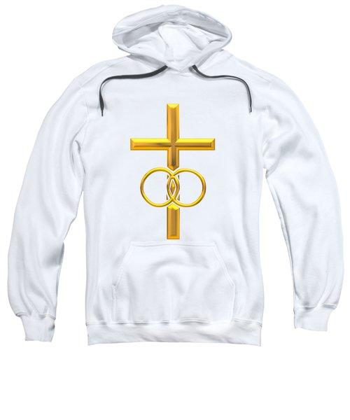 Golden 3d Look Cross With Wedding Rings Sweatshirt