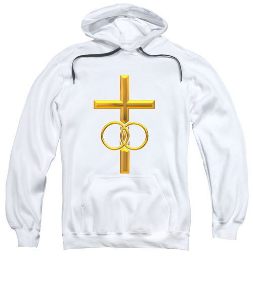 Golden 3d Look Cross With Wedding Rings Sweatshirt