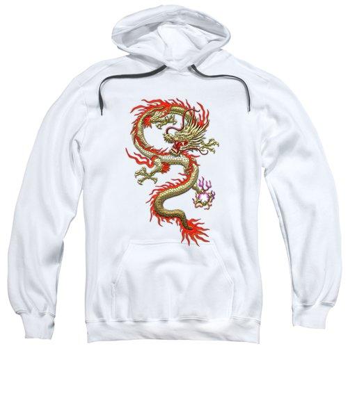 Golden Chinese Dragon Fucanglong On Rice Paper  Sweatshirt