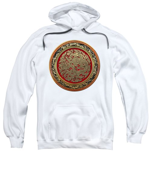 Golden Chinese Dragon White Leather  Sweatshirt