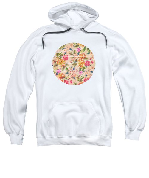 Golden Flitch Digital Vintage Retro  Glitched Pastel Flowers  Floral Design Pattern Sweatshirt