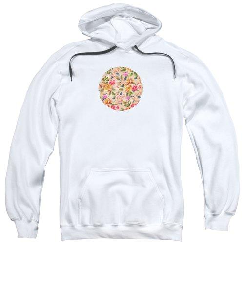 Golden Flitch Digital Vintage Retro  Glitched Pastel Flowers  Floral Design Pattern Sweatshirt