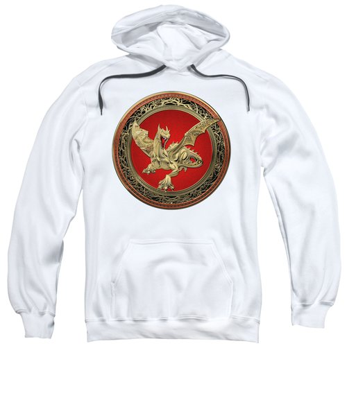 Golden Guardian Dragon Over White Leather Sweatshirt by Serge Averbukh
