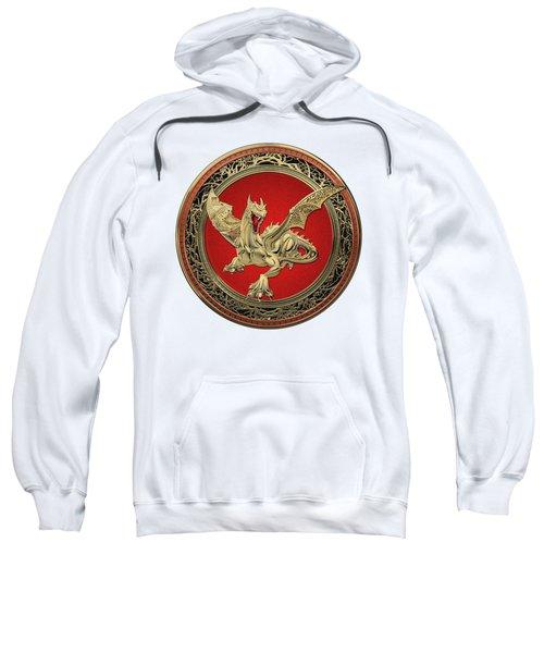 Golden Guardian Dragon Over White Leather Sweatshirt