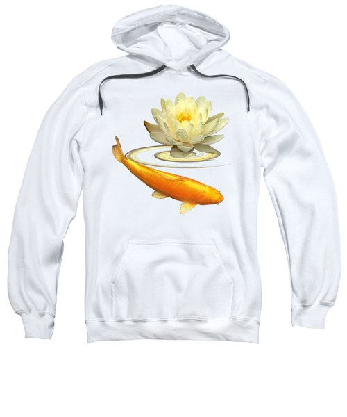 Golden Harmony - Koi Carp With Water Lily Sweatshirt by Gill Billington