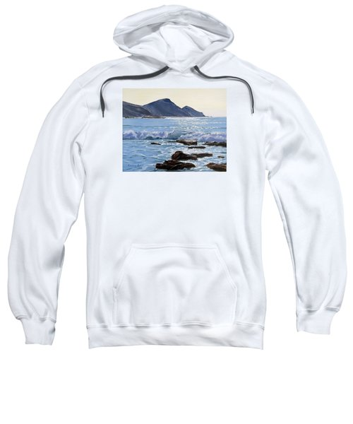 Sweatshirt featuring the painting Golden Light At Crackington Haven by Lawrence Dyer