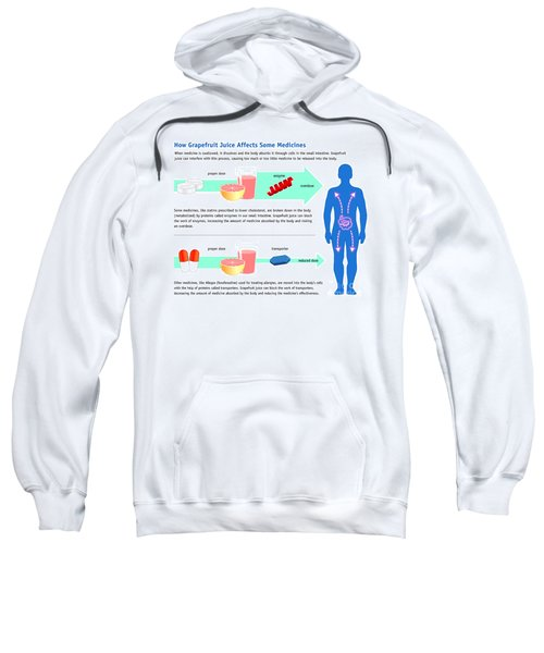 Grapefruit Juice And Medicine Warning Sweatshirt by Science Source