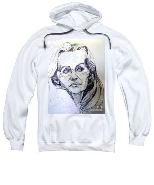 Graphite Portrait Sketch Of A Woman With Glasses Sweatshirt