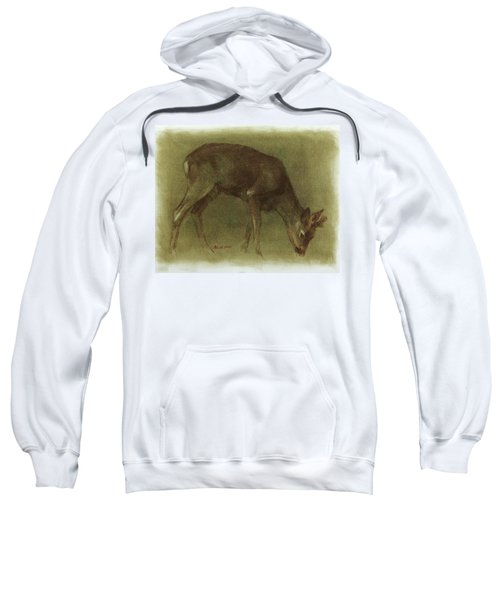Grazing Roe Deer Oil Painting Sweatshirt