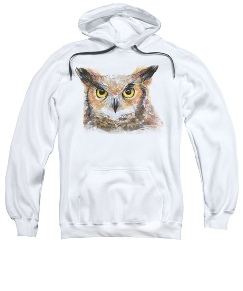 Great Horned Owl Watercolor Sweatshirt by Olga Shvartsur
