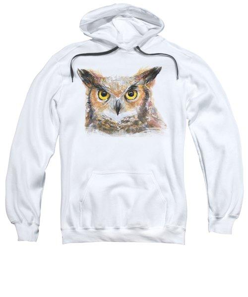 Great Horned Owl Watercolor Sweatshirt
