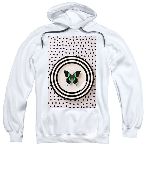 Green And Black Butterfly On Plate Sweatshirt