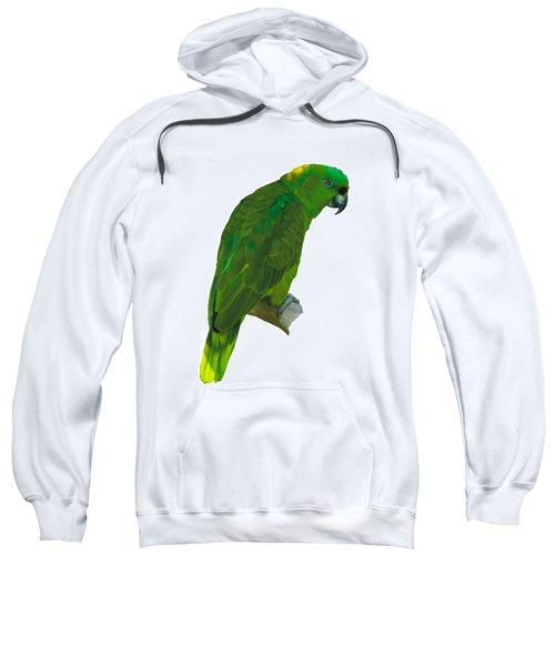 Green Parrot On White  Sweatshirt