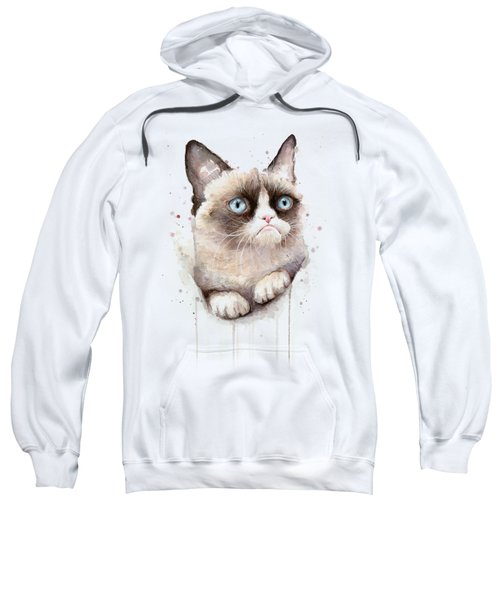 Grumpy Cat Watercolor Sweatshirt by Olga Shvartsur