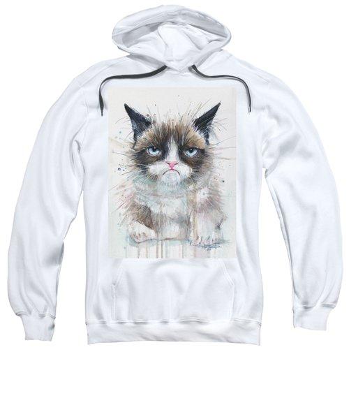 Grumpy Cat Watercolor Painting  Sweatshirt by Olga Shvartsur