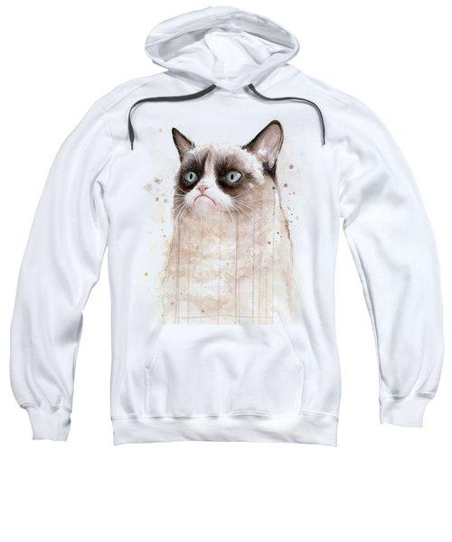 Grumpy Watercolor Cat Sweatshirt