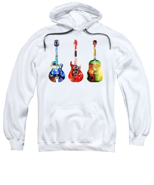Guitar Threesome - Colorful Guitars By Sharon Cummings Sweatshirt by Sharon Cummings