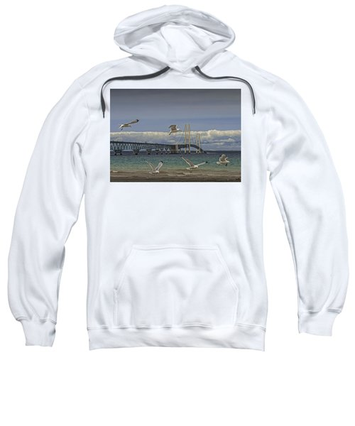 Gulls Flying By The Bridge At The Straits Of Mackinac Sweatshirt