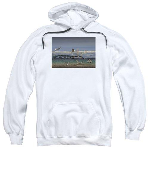 Gulls Flying By The Bridge At The Straits Of Mackinac Sweatshirt