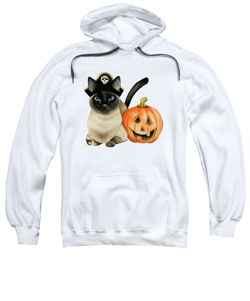 Halloween Siamese Cat With Jack O' Lantern Sweatshirt