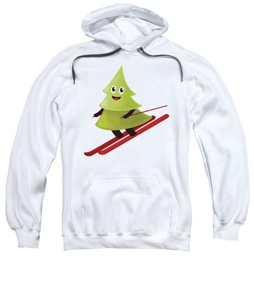 Happy Pine Tree On Ski Sweatshirt