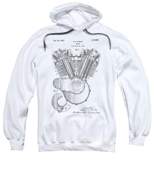 Harley Engine Patent Drawing Sweatshirt