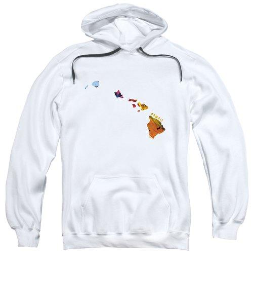 Hawaii Map Art - Painted Map Of Hawaii Sweatshirt