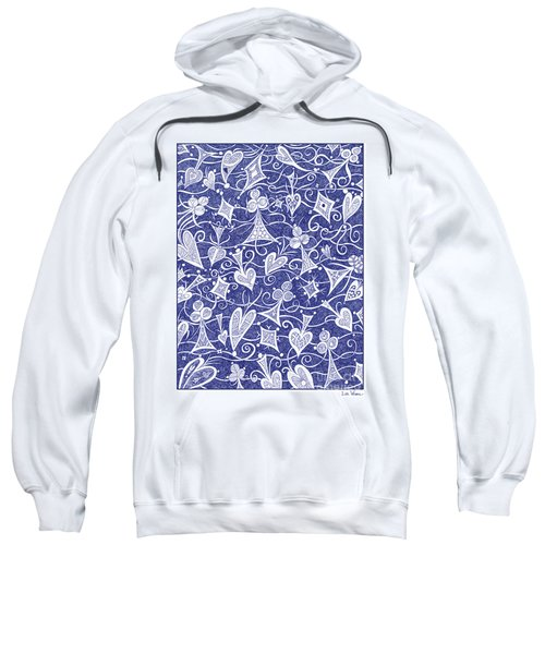 Hearts, Spades, Diamonds And Clubs In Blue Sweatshirt