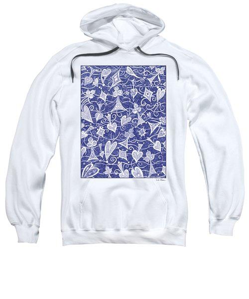 Hearts, Spades, Diamonds And Clubs In Blue Sweatshirt