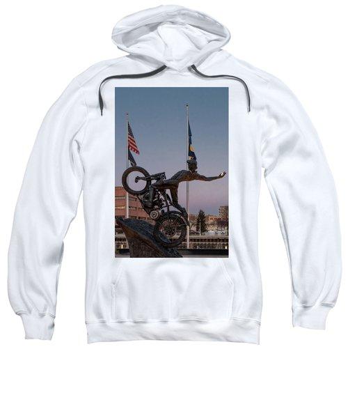 Sweatshirt featuring the photograph Hill Climber Catches The Moon by Randy Scherkenbach