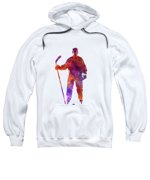 Hockey Man Player 01 In Watercolor Sweatshirt