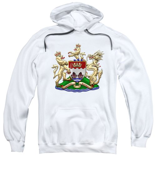 Hong Kong - 1959-1997 Coat Of Arms Over White Leather  Sweatshirt