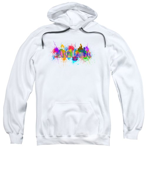 Hong Kong Skyline Paint Splatter Illustration Sweatshirt by Jit Lim