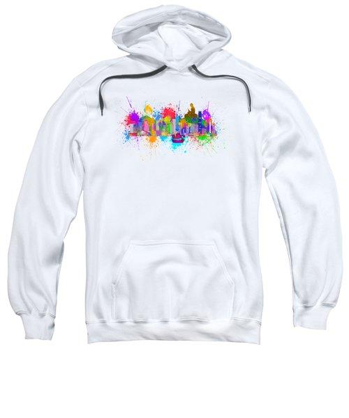 Hong Kong Skyline Paint Splatter Illustration Sweatshirt
