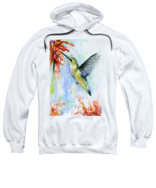 Hummingbird And Red Flower Watercolor Sweatshirt