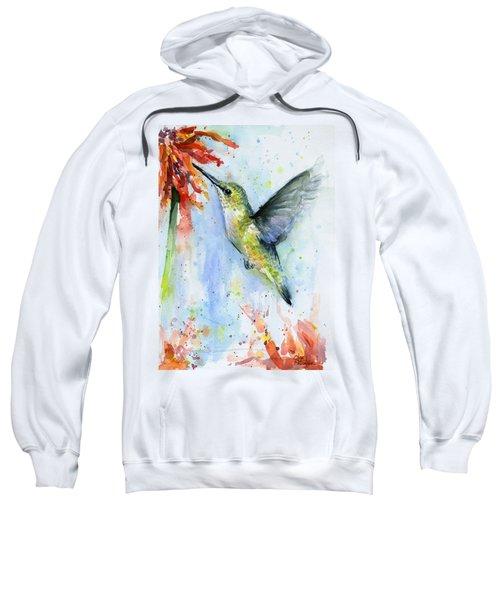 Hummingbird And Red Flower Watercolor Sweatshirt