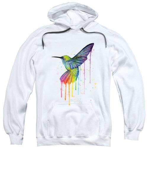Hummingbird Of Watercolor Rainbow Sweatshirt