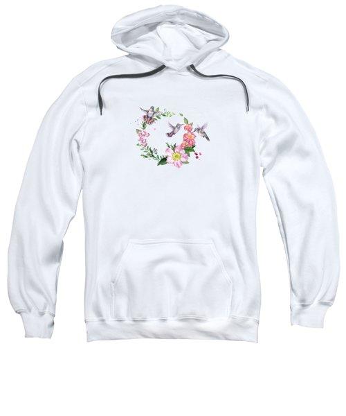 Hummingbird Wreath In Watercolor Sweatshirt