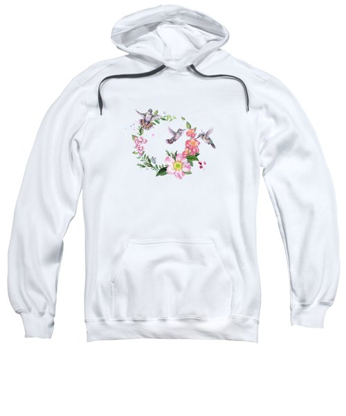 Hummingbird Wreath In Watercolor Sweatshirt