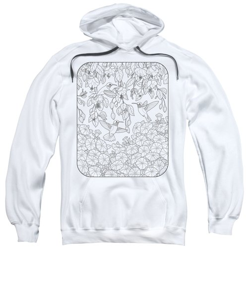 Hummingbirds And Flowers Coloring Page Sweatshirt by Crista Forest