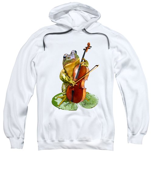 Humorous Scene Frog Playing Cello In Lily Pond Sweatshirt
