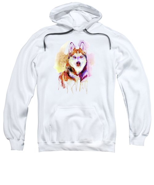 Husky Dog Watercolor Portrait Sweatshirt