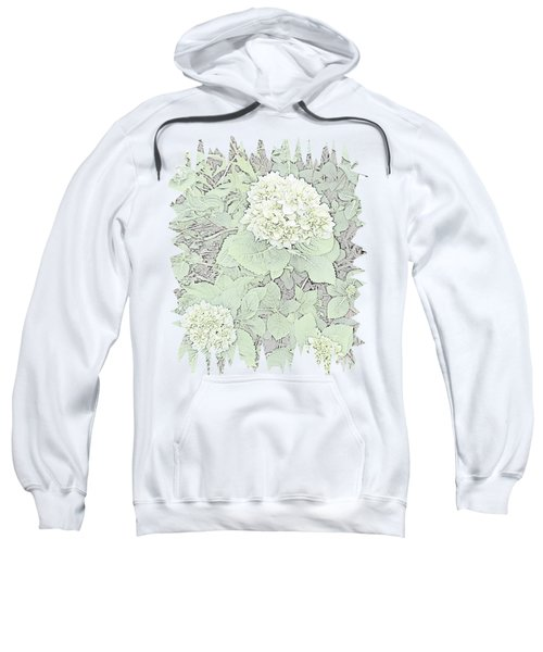 Hydrangea Pencil Sketch With Jagged Edge  Sweatshirt