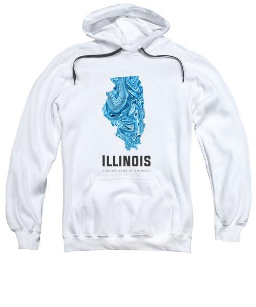 Illinois Map Art Abstract In Blue Sweatshirt