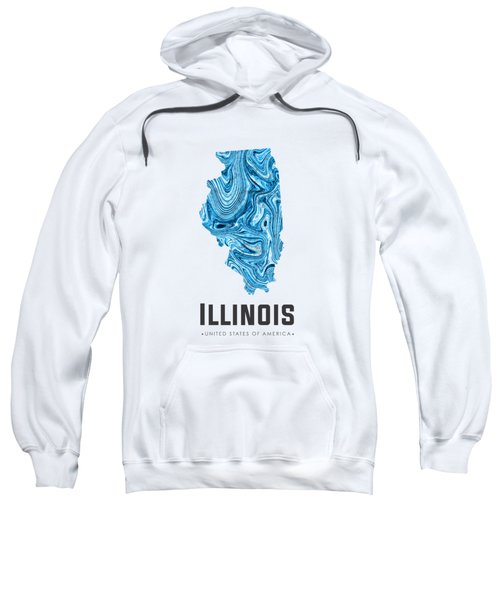 Illinois Map Art Abstract In Blue Sweatshirt